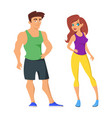 cartoon of sporty man and woman vector image vector image
