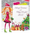 christmas fashion girl 1 vector image vector image