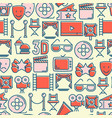 cinema seamless pattern with thin line icons vector image vector image