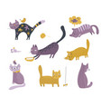 collection cute cats in simple flat vector image