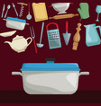 color poster of floating set realistic utensils of vector image