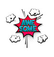 comic text awesome speech bubble pop art style