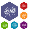 crash explosion icons set hexagon vector image vector image