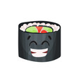 cute happy roll character sushi with funny face vector image vector image