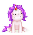 cute unicorn 3d toy cartoon character design vector image