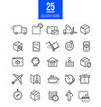 delivery app modern linear icons set vector image