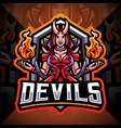 devils girl esport mascot logo design vector image vector image