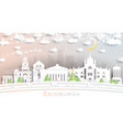 edinburgh scotland city skyline in paper cut vector image