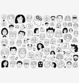 faces people - hand drawn doodle set vector image