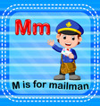 flashcard letter m is for mailman vector image vector image