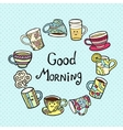 Good Morning Card with doodle tea cups on blue vector image vector image