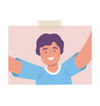 happy laughing man taking selfie using smartphone vector image vector image