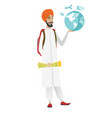 hindu traveler man holding map and globe vector image vector image