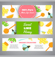 honey horizontal banners with flat honey elements vector image vector image