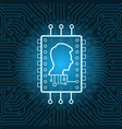 human head on chip icon over blue circuit vector image