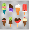 ice cream icons on transparent background vector image vector image