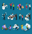 isometric people and stress set vector image vector image