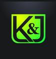 k j letter logo vector image vector image