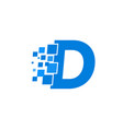 logo letter d blue blocks cubes vector image