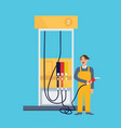 male employee standing in gas station holding fuel vector image vector image