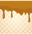 melting caramel on wafer texture vector image vector image