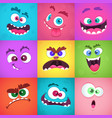 monsters emotions scary faces masks with mouth vector image vector image
