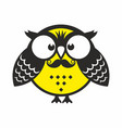 owl with mustache vector image vector image
