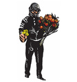 policeman with flowers gentle hero - freehand vector image vector image