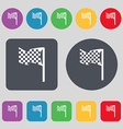 racing flag icon sign A set of 12 colored buttons vector image