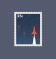 retro space postage stamp vector image vector image