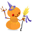 scarecrow pumpkin head cartoon style isolated on vector image vector image