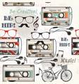seamless background with old cassette headphones vector image