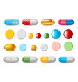 set color pills and capsules in realistic style vector image vector image