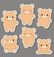 set of cute bears set of cute bears vector image vector image