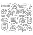 set of hand drawn think and talk speech balloons vector image