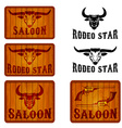set saloon and rodeo emblems templates vector image
