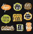 set with healthy eco and organic food labels can vector image vector image