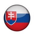 slovakia flag in glossy round button of icon vector image vector image