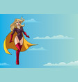 superheroine flying in sky vector image vector image