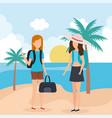 travel girls on beach vector image