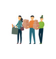 young volunteer people with donation boxes vector image
