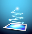 Technology Background Tablet with Christmas tree vector image