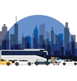 traffic jam around town cars bus and motorcycle vector image