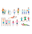 active family people kids doing fitness vector image vector image