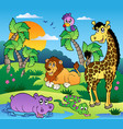 african scenery with animals 1 vector image vector image