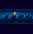 airplane cabin at night plane economy class salon vector image