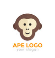 ape monkey logo element chimp icon on white vector image