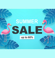banner with tropical leaves and flamingos in blue vector image vector image