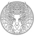beautiful hand drawn tribal style deer head over vector image vector image