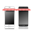 black and white mobile smart phones with awnings vector image vector image